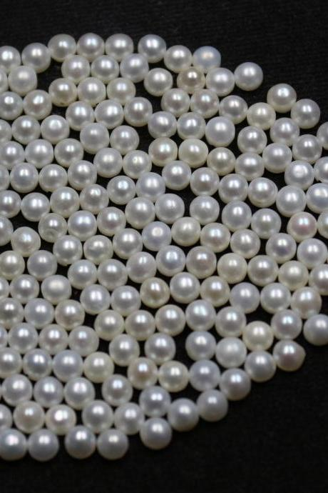 5mm Natural Fresh Water White Pearl - Half Cut cabochon Round 25 Pieces Top Quality White Pearl - Loose Gemstone Wholesale Lot For Sale