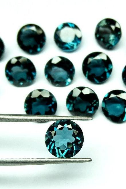 7mm Natural London Blue Topaz Faceted Cut Round 1 Piece Top Quality Blue Color - Loose Gemstone Wholesale Lot For Sale