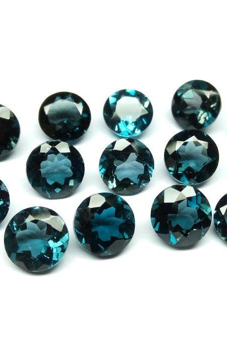 7mm Natural London Blue Topaz Faceted Cut Round 5 Pieces Top Quality Blue Color - Loose Gemstone Wholesale Lot For Sale