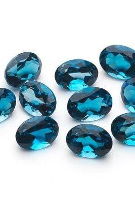 8x10mm Natural London Blue Topaz Faceted Cut Oval 2 Pieces Top Quality Blue Color - Loose Gemstone Wholesale Lot For Sale