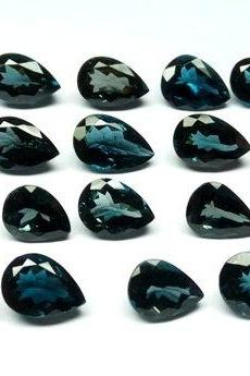 7x5mm Natural London Blue Topaz Faceted Cut Pear 25 Pieces Top Quality Blue Color - Loose Gemstone Wholesale Lot For Sale