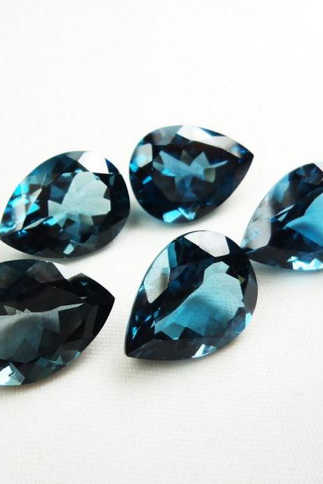7x10mm Natural London Blue Topaz Faceted Cut Pear 10 Pieces Top Quality Blue Color - Loose Gemstone Wholesale Lot For Sale