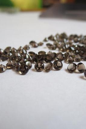 Natural Smoky Quartz 2.25mm Faceted Cut Round 50 Pieces Lot Brown Color Top Quality - Natural Loose Gemstone Wholesale Lot For Sale