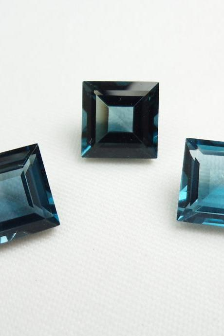 4mm Natural London Blue Topaz Faceted Cut Square 2 Pieces Top Quality Blue Color - Loose Gemstone Wholesale Lot For Sale