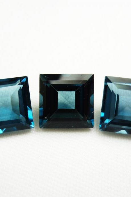 8mm Natural London Blue Topaz Faceted Cut Square 1 Piece Top Quality Blue Color - Loose Gemstone Wholesale Lot For Sale