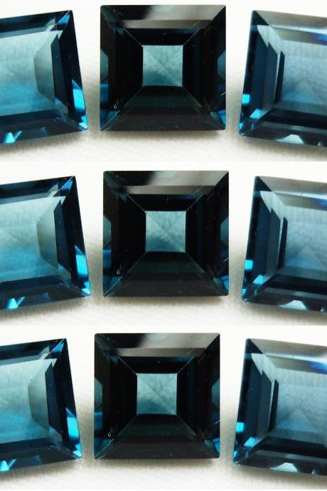 8mm Natural London Blue Topaz Faceted Cut Square 5 Pieces Top Quality Blue Color - Loose Gemstone Wholesale Lot For Sale