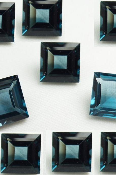 8mm Natural London Blue Topaz Faceted Cut Square 10 Pieces Top Quality Blue Color - Loose Gemstone Wholesale Lot For Sale