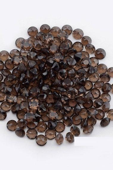 Natural Smoky Quartz 7mm Faceted Cut Round 5 Pieces Lot Brown Color Top Quality - Natural Loose Gemstone Wholesale Lot For Sale