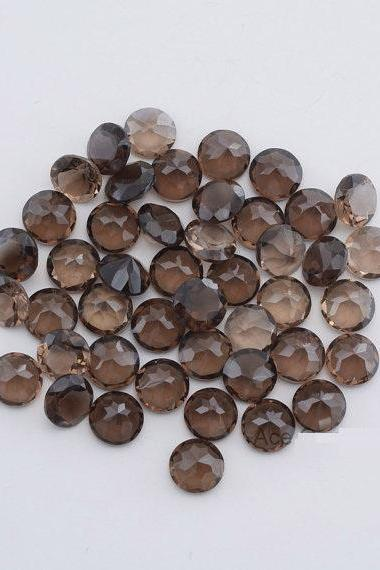 Natural Smoky Quartz 9mm Faceted Cut Round 2 Pieces Lot Brown Color Top Quality - Natural Loose Gemstone Wholesale Lot For Sale