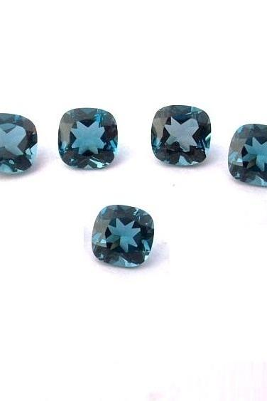 7mm Natural London Blue Topaz Faceted Cut Cushion 5 Pieces Top Quality Blue Color - Loose Gemstone Wholesale Lot For Sale