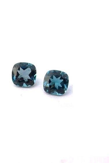 8mm Natural London Blue Topaz Faceted Cut Cushion 2 Pieces Top Quality Blue Color - Loose Gemstone Wholesale Lot For Sale