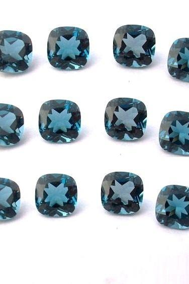 8mm Natural London Blue Topaz Faceted Cut Cushion 10 Pieces Top Quality Blue Color - Loose Gemstone Wholesale Lot For Sale