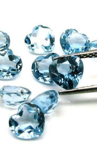 7mm Natural London Blue Topaz Faceted Cut Heart 2 Pieces Top Quality Blue Color - Loose Gemstone Wholesale Lot For Sale