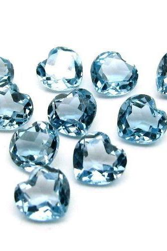 7mm Natural London Blue Topaz Faceted Cut Heart 10 Pieces Top Quality Blue Color - Loose Gemstone Wholesale Lot For Sale