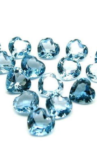 7mm Natural London Blue Topaz Faceted Cut Heart 50 Pieces Top Quality Blue Color - Loose Gemstone Wholesale Lot For Sale
