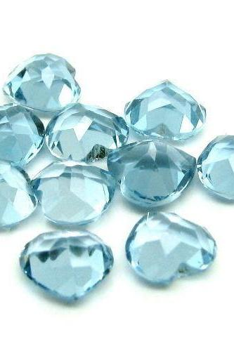 8mm Natural London Blue Topaz Faceted Cut Heart 5 Pieces Top Quality Blue Color - Loose Gemstone Wholesale Lot For Sale