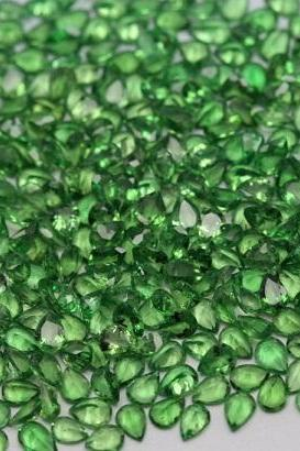 3x4mm Natural Tsavorite Faceted Cut Pear 10 Pieces Top Quality Green Color - Loose Gemstone Wholesale Lot For Sale