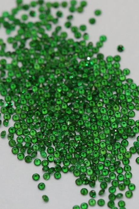 2mm Natural Tsavorite Faceted Cut Round 25 Pieces Top Quality Green Color - Loose Gemstone Wholesale Lot For Sale