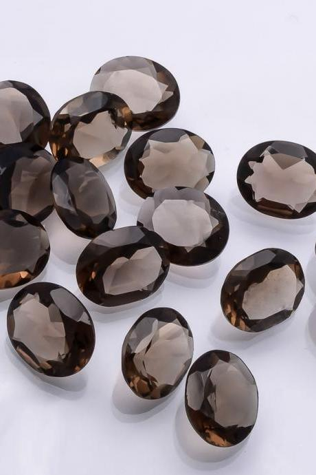 Natural Smoky Quartz 7x9mm Faceted Cut Oval 25 Pieces Lot Brown Color Top Quality - Natural Loose Gemstone Wholesale Lot For Sale