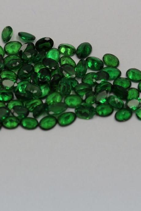 Natural Tsavorite 6x4mm 5 Pieces Faceted Cut Oval AAA Green Color Top Quality Loose Gemstone