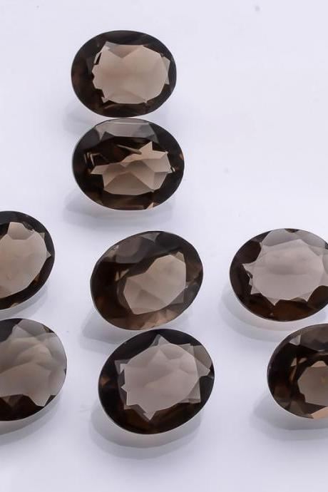 Natural Smoky Quartz 15x20mm Faceted Cut Oval 1 Pieces Lot Brown Color Top Quality - Natural Loose Gemstone Wholesale Lot For Sale