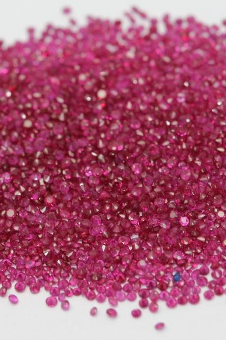 Natural Ruby 1.2mm 50 Pieces Lot Faceted Cut Round Red Pink Color Top Quality Loose Gemstone