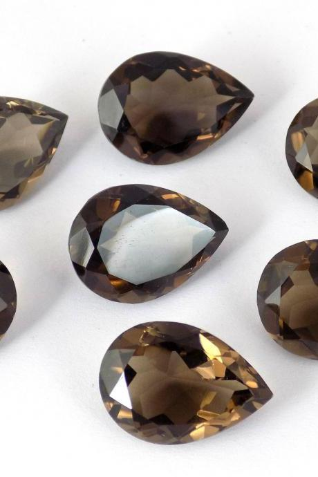 Natural Smoky Quartz 10x14mm Faceted Cut Pear 2 Pieces Lot Brown Color Top Quality - Natural Loose Gemstone Wholesale Lot For Sale