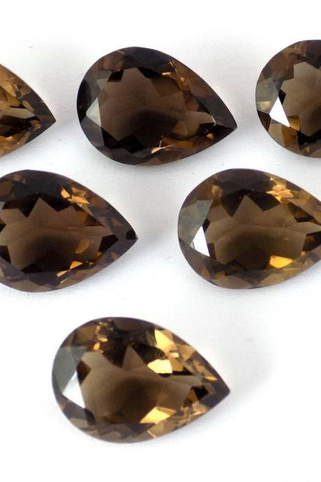 Natural Smoky Quartz 15x20mm Faceted Cut Pear 5 Pieces Lot Brown Color Top Quality - Natural Loose Gemstone Wholesale Lot For Sale