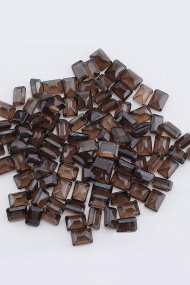 Natural Smoky Quartz 6x4mm Faceted Cut Octagon 25 Pieces Lot Brown Color Top Quality - Natural Loose Gemstone Wholesale Lot For Sale