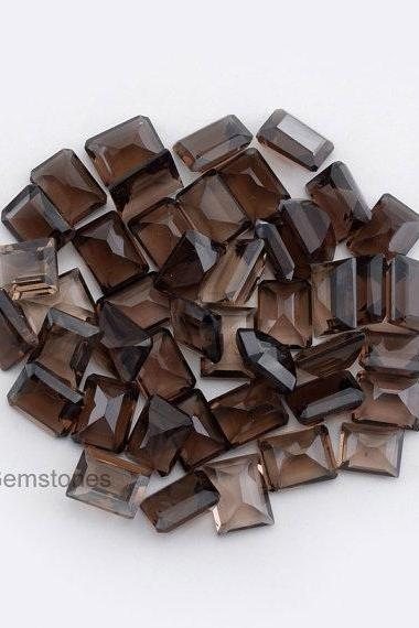 Natural Smoky Quartz 6x8mm Faceted Cut Octagon 75 Pieces Lot Brown Color Top Quality - Natural Loose Gemstone Wholesale Lot For Sale