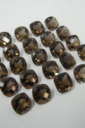 Natural Smoky Quartz 7x9mm Faceted Cut Long Cushion 25 Pieces Lot Brown Color Top Quality - Natural Loose Gemstone Wholesale Lot For Sale