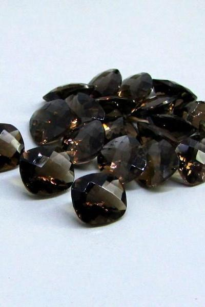 Natural Smoky Quartz 18x13mm Faceted Cut Long Cushion 50 Pieces Lot Brown Color Top Quality - Natural Loose Gemstone Wholesale Lot For Sale