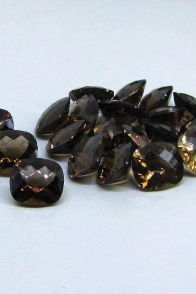 Natural Smoky Quartz 15x20mm Faceted Cut Long Cushion 25 Pieces Lot Brown Color Top Quality - Natural Loose Gemstone Wholesale Lot For Sale