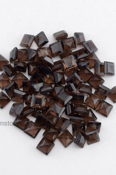 Natural Smoky Quartz 5mm Faceted Cut Square 25 Pieces Lot Brown Color Top Quality - Natural Loose Gemstone Wholesale Lot For Sale