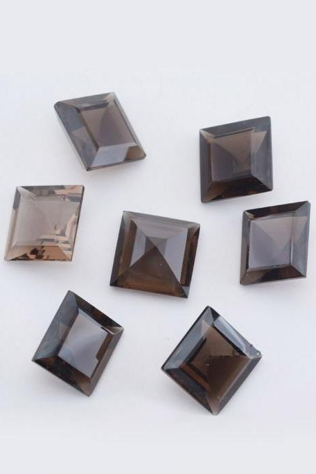 Natural Smoky Quartz 7mm Faceted Cut Square 10 Pieces Lot Brown Color Top Quality - Natural Loose Gemstone Wholesale Lot For Sale