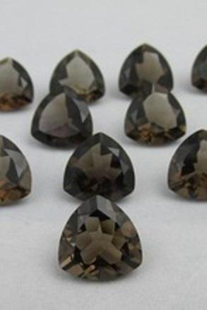 Natural Smoky Quartz 5mm Faceted Cut Trillion 5 Pieces Lot Brown Color Top Quality - Natural Loose Gemstone Wholesale Lot For Sale