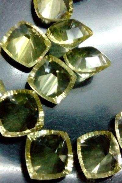 Natural Lemon Quartz 8mm Cushion Concavre Cut 50 Pieces Lot Yellow Color - Natural Loose Gemstone