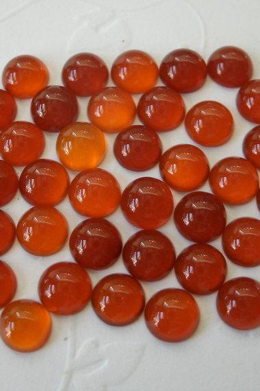 Natural Carnelian 5mm Cabochon Round 25 Pieces Lot Orange Color - Natural Loose Gemstone