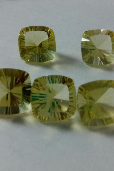 Natural Lemon Quartz 10mm Cushion Concavre Cut 5 Pieces Lot Yellow Color - Natural Loose Gemstone