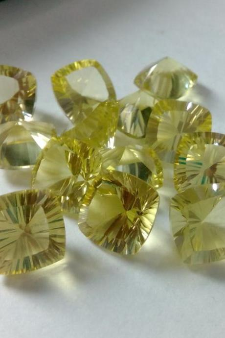 Natural Lemon Quartz 10mm Cushion Concavre Cut 100 Pieces Lot Yellow Color - Natural Loose Gemstone