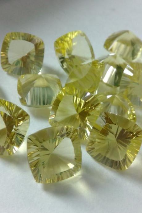 Natural Lemon Quartz 12mm Cushion Concavre Cut 50 Pieces Lot Yellow Color - Natural Loose Gemstone