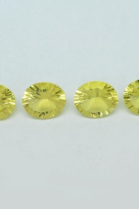Natural Lemon Quartz 10x12mm Oval Concavre Cut 5 Pieces Yellow Color - Natural Loose Gemstone