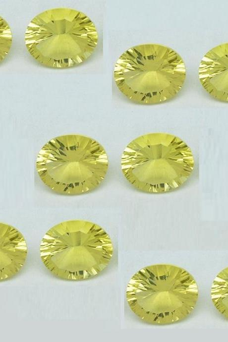 Natural Lemon Quartz 10x14mm Oval Concavre Cut 10 Pieces Yellow Color - Natural Loose Gemstone