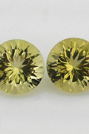 Natural Lemon Quartz 12mm Round Concavre Cut 2 Pieces Yellow Color - Natural Loose Gemstone