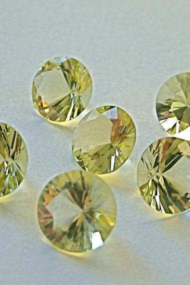 Natural Lemon Quartz 12mm Round Concavre Cut 10 Pieces Yellow Color - Natural Loose Gemstone