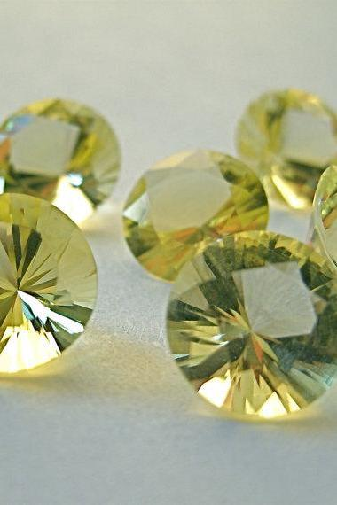 Natural Lemon Quartz 14mm Round Concavre Cut 10 Pieces Yellow Color - Natural Loose Gemstone