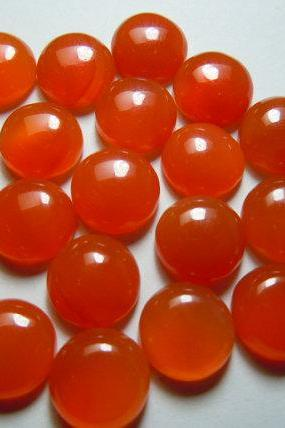 Natural Carnelian 9mm Cabochon Round 5 Pieces Lot Orange Color - Natural Loose Gemstone