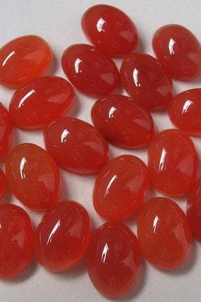 Natural Carnelian 4x6mm Cabochon Oval 25 Pieces Lot Orange Color - Natural Loose Gemstone