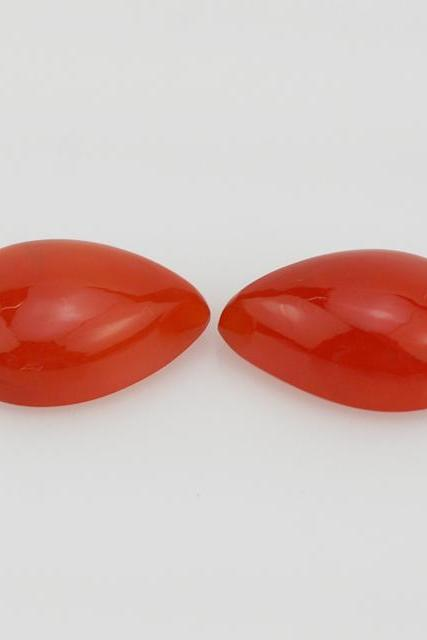 Natural Carnelian 8x6mm Cabochon Pear 2 Pieces Lot Orange Color - Natural Loose Gemstone