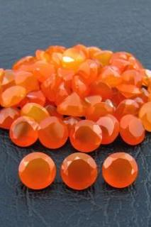 Natural Carnelian 8mm Faceted Cut Round 5 Pieces Lot Orange Color - Natural Loose Gemstone